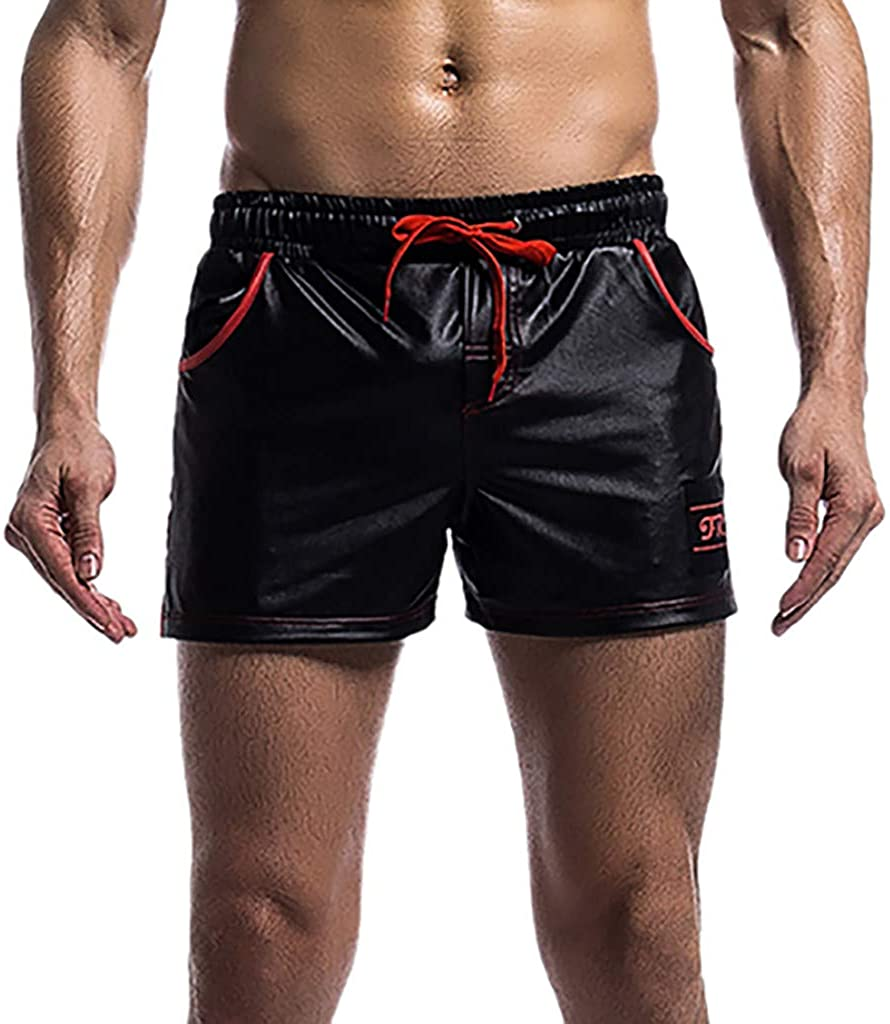 XQXCL Men's Summer Splice Thin Fast-Drying Drawstring Elastic Waist Air-Breathable Fit Shorts Pants