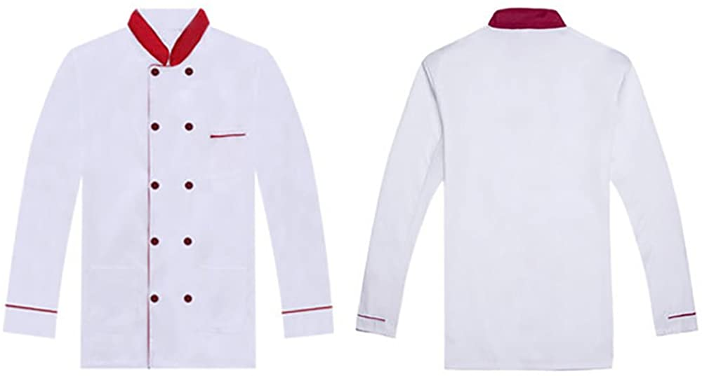 QZUnique Unisex Chef Jackets with Pockets Stand Up Collar Chef Coats Long/Short Sleeves