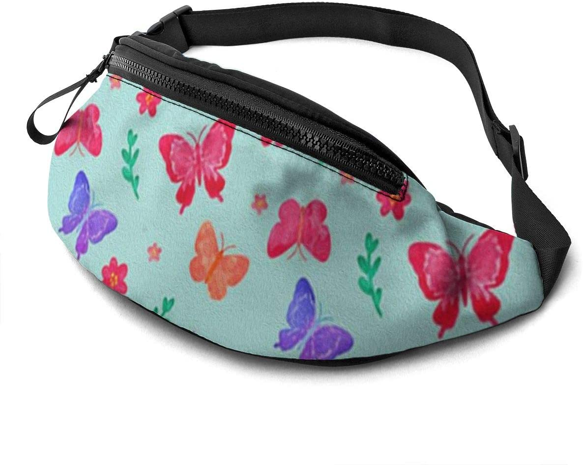 Red and blue butterfly Fanny Pack for Men Women Waist Pack Bag with Headphone Jack and Zipper Pockets Adjustable Straps