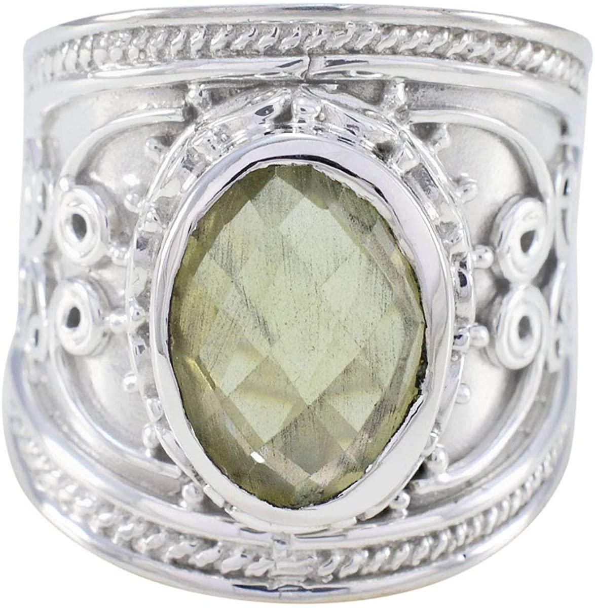 Joyas Plata Good Gemstones Oval Shape One Stone cheker Lemon Quartz rings-925 Silver Yellow Lemon Quartz Ring-April Birth Aries Astrology Good Gemstones Ring SRLQUCH-3175-4 us