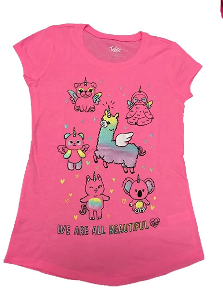 Justice Girls Beautiful Magical Friends Graphic Tee Super Neon Pink