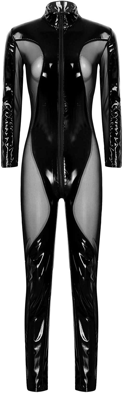 YiZYiF Womens One-Piece Shiny Wet Look Leather Mesh Long Sleeves Leotard Bodysuit Catsuit Clubwear
