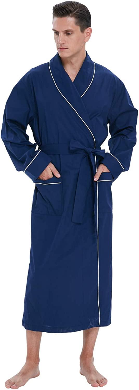Men's 100% Cotton Blue Woven Bathrobe,never Fade,Absorbent Kimono Housecoat extra Lightweight Cool