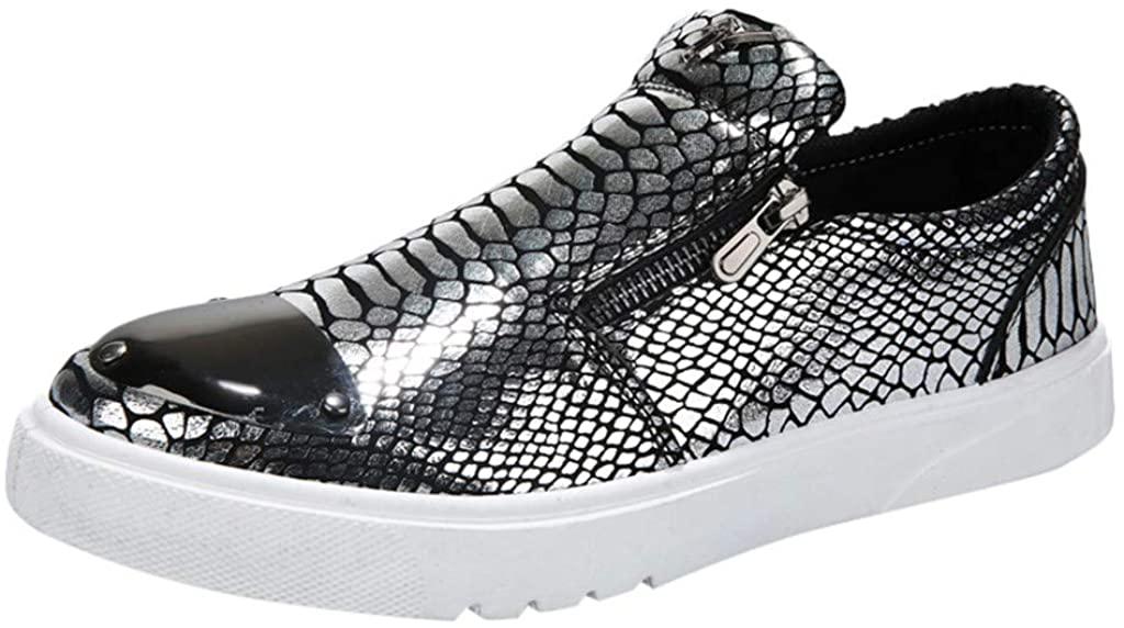 GLVSZ Mens Sneaker Slip On Loafer Fashion Glitter Sparkly Shoes