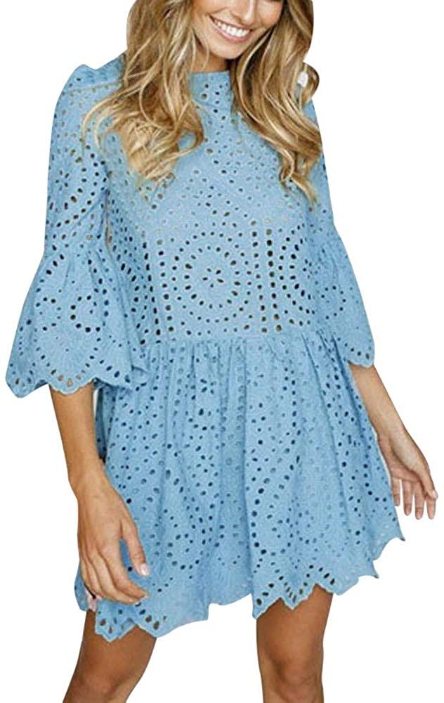 Adeliber Women's Dress Flower Lace Short Sleeve Round Neck Party Dress Retro Lace Dress Beach Skirt