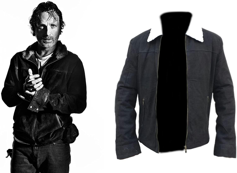 Mens The Walking Dead Rick Grimes Season 4 Black Suede Leather Winter Jacket