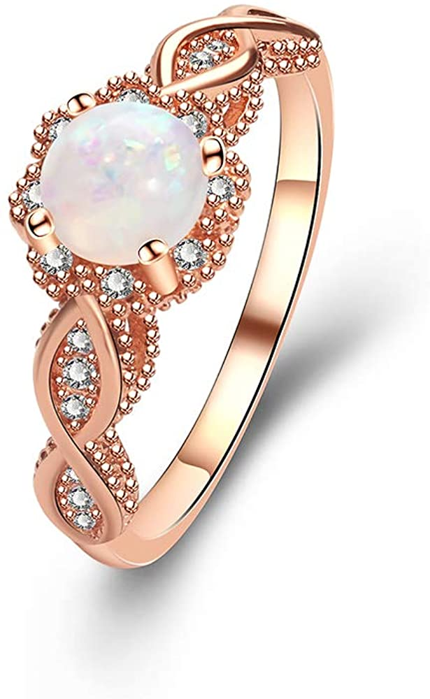 YAZILIND Statement Rose Gold Plated Ring Round Opal Cubic Zirconia Wedding Engagement Jewelry Gift
