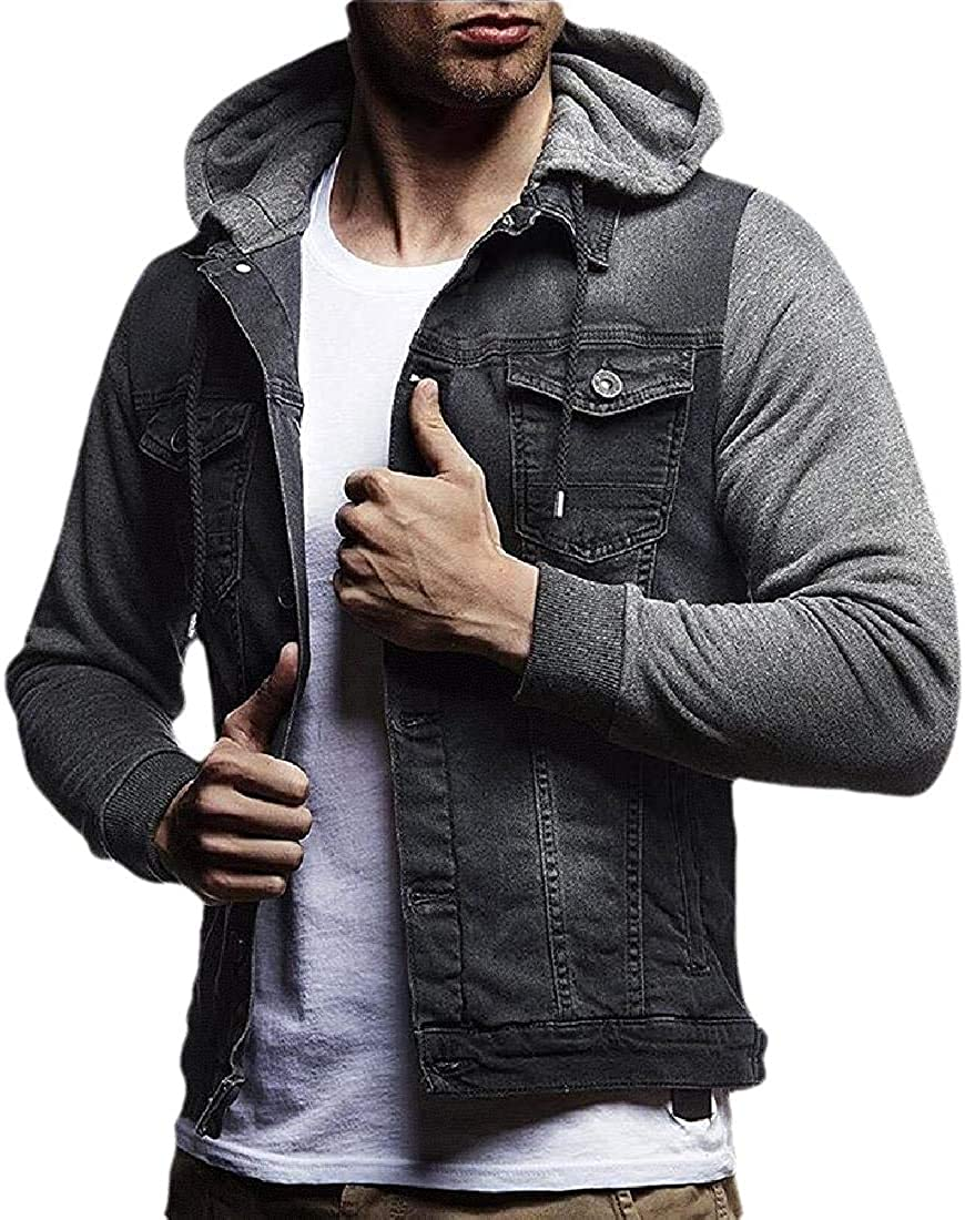 Aysselt Men Slim Button Stitching Coat Jean Hooded Denim Jacket