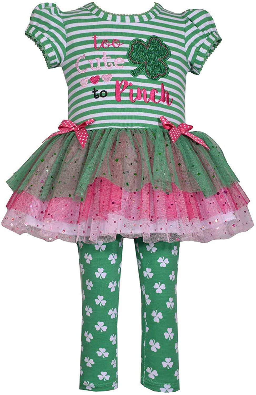 Bonnie Jean Girls St Patricks Day Shamrock Tutu Top and Leggings Set for Baby Toddler and Little Girls - Too Cute to Pinch