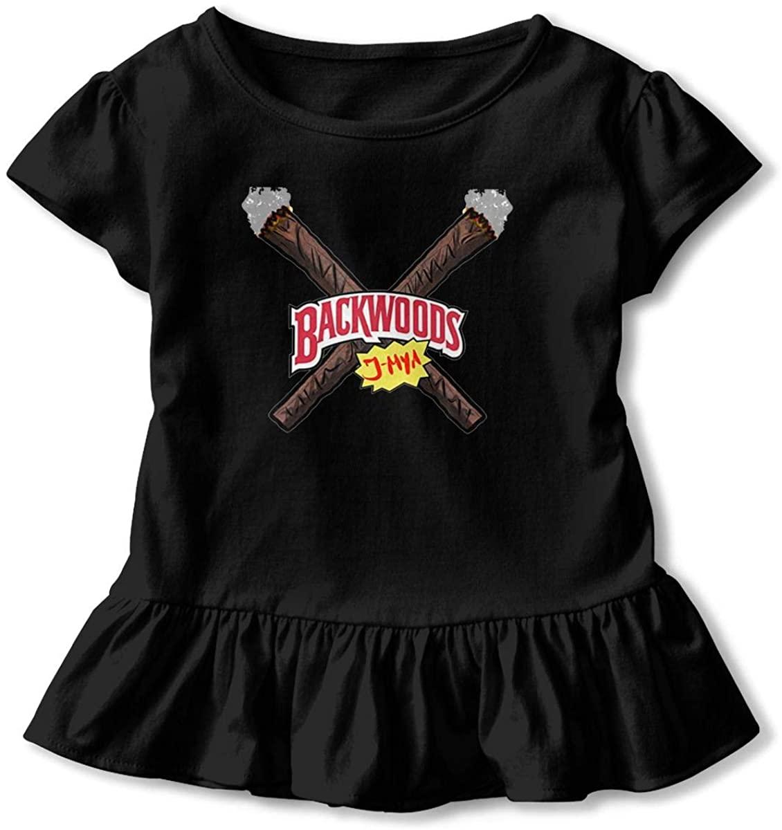 AP.Room Little Girls Cotton Casual Print Short Sleeve Skirt Backwoods Dresses 2-6tblack