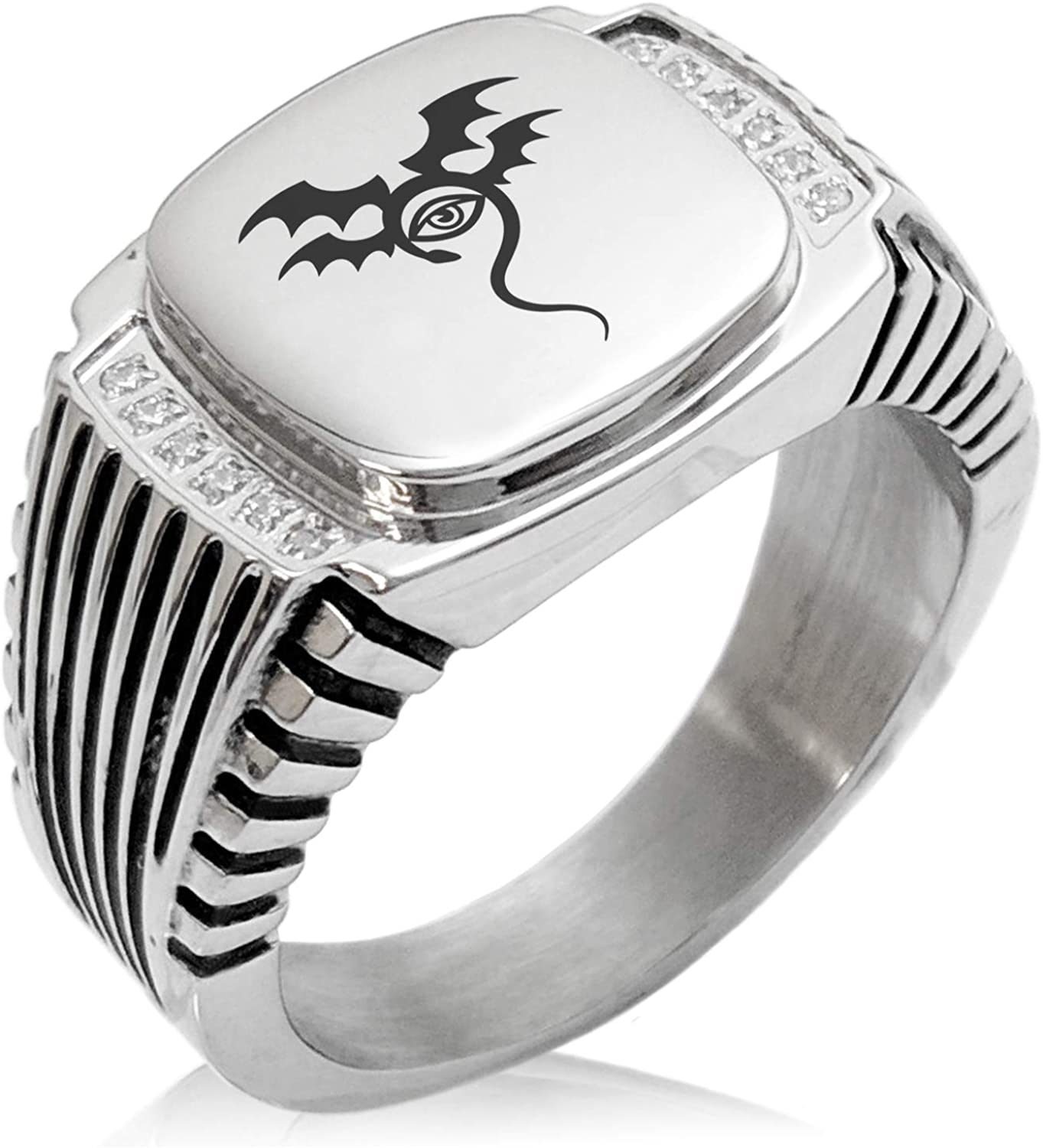 Tioneer Stainless Steel Oracle Emblem CZ Ribbed Needle Stripe Pattern Biker Style Polished Ring