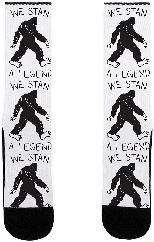 LookHUMAN We Stan A Legend Bigfoot US Size 7-13 Socks