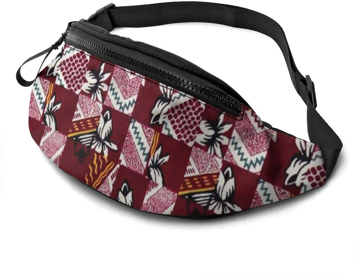 Floral Fanny Pack For Men Women Waist Pack Bag With Headphone Jack And Zipper Pockets Adjustable Straps