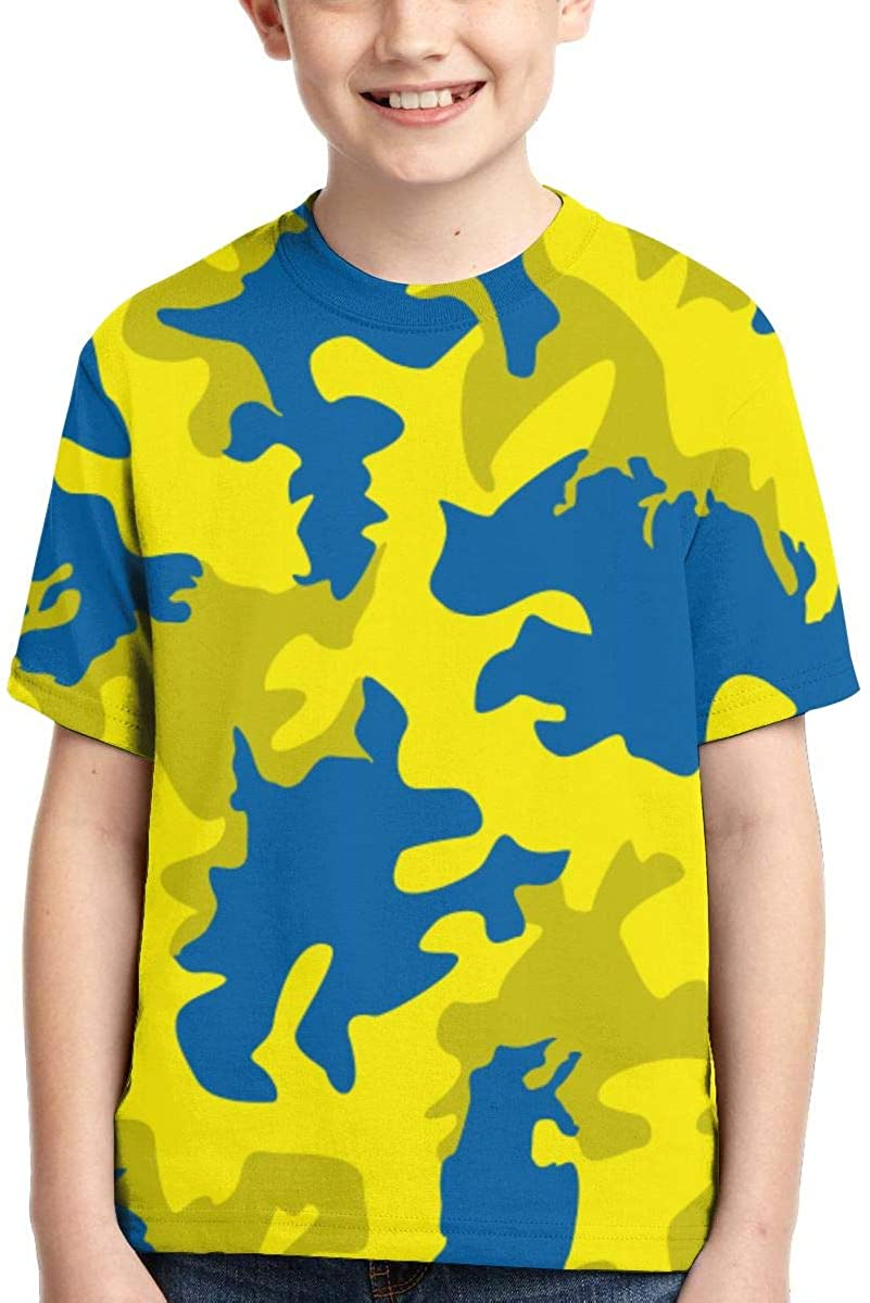 KRISMARIO Camouflage 3D Graphic Printed Boys Girls Youth Funny T-Shirt Crewneck Short Sleeve Tees 6-14t