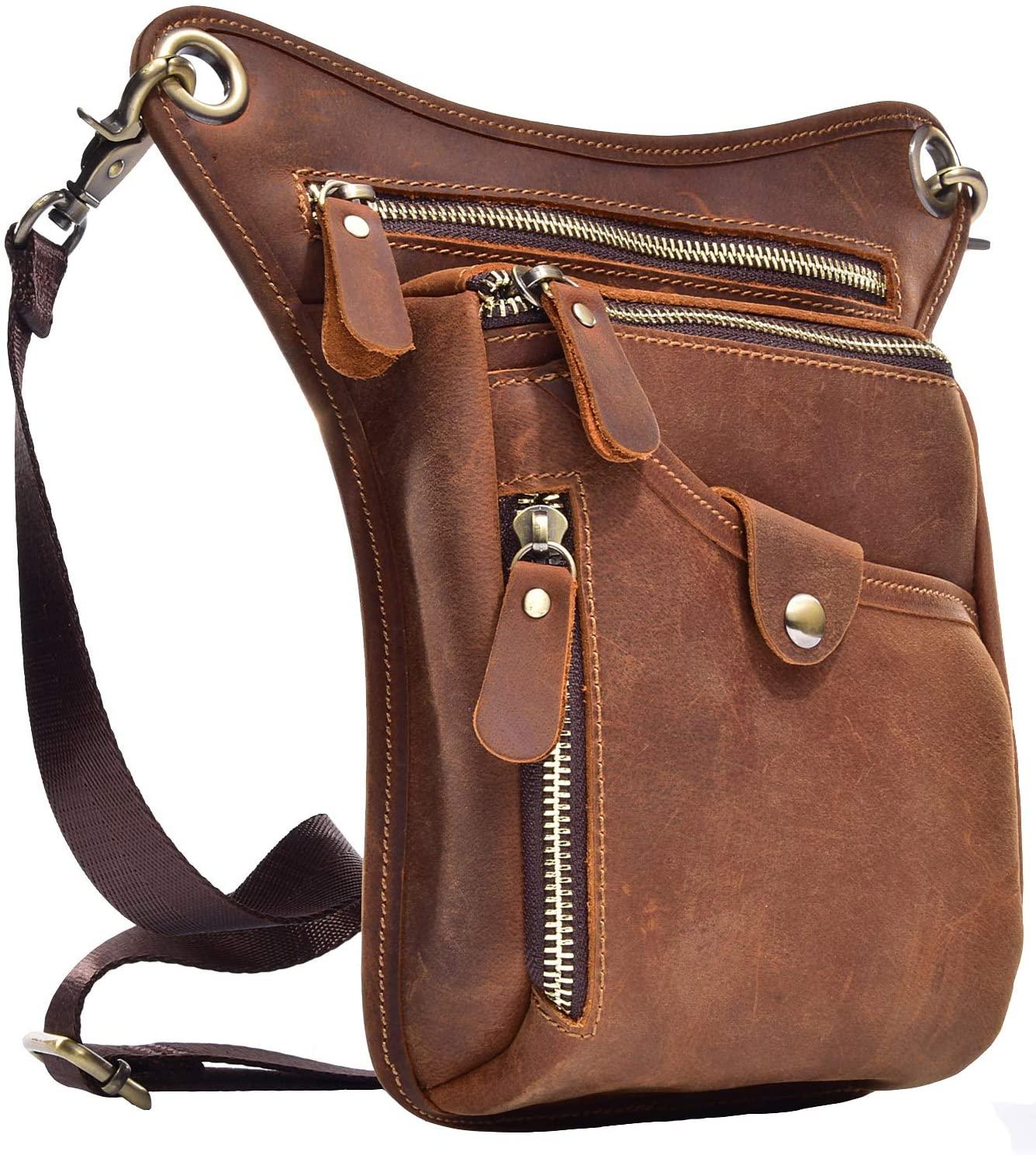 SEABIRD Messenger Leather Fanny Pack for Men Waterproof Supreme Motorcycle Waist Drop Leg Bag
