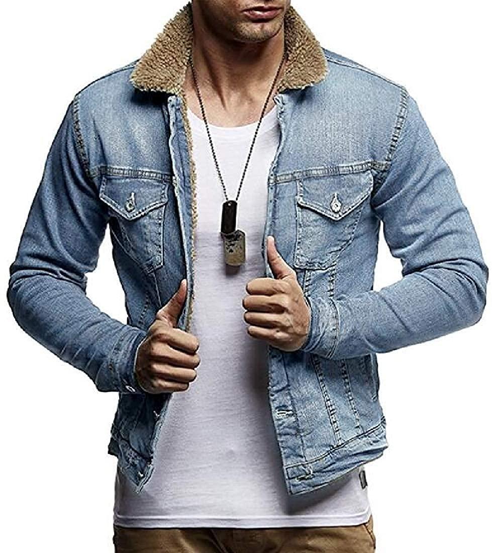 Sudhguyfuy Mens Denim Jacket Loose Fit Lamb Wool Fleece Lined Denim Trucker Jacket Coat