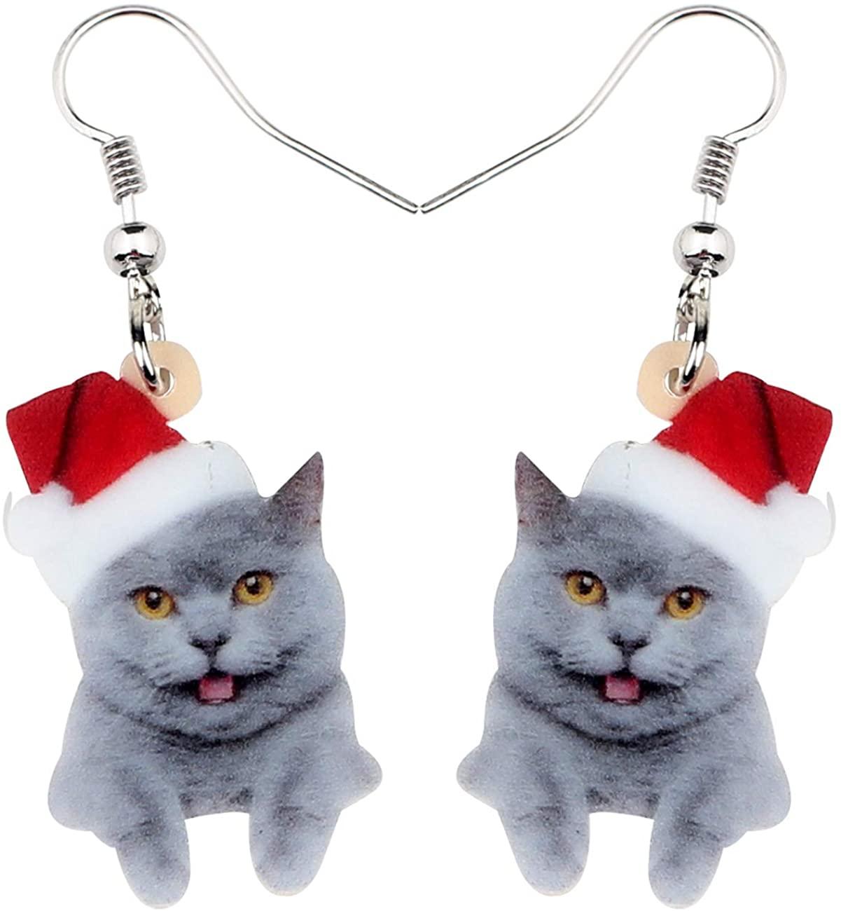 NEWEI Acrylic Christmas Hat Shorthair Cat Kitten Earrings Dangle Drop Hook Jewelry For Women Girls Kids Charm Gift