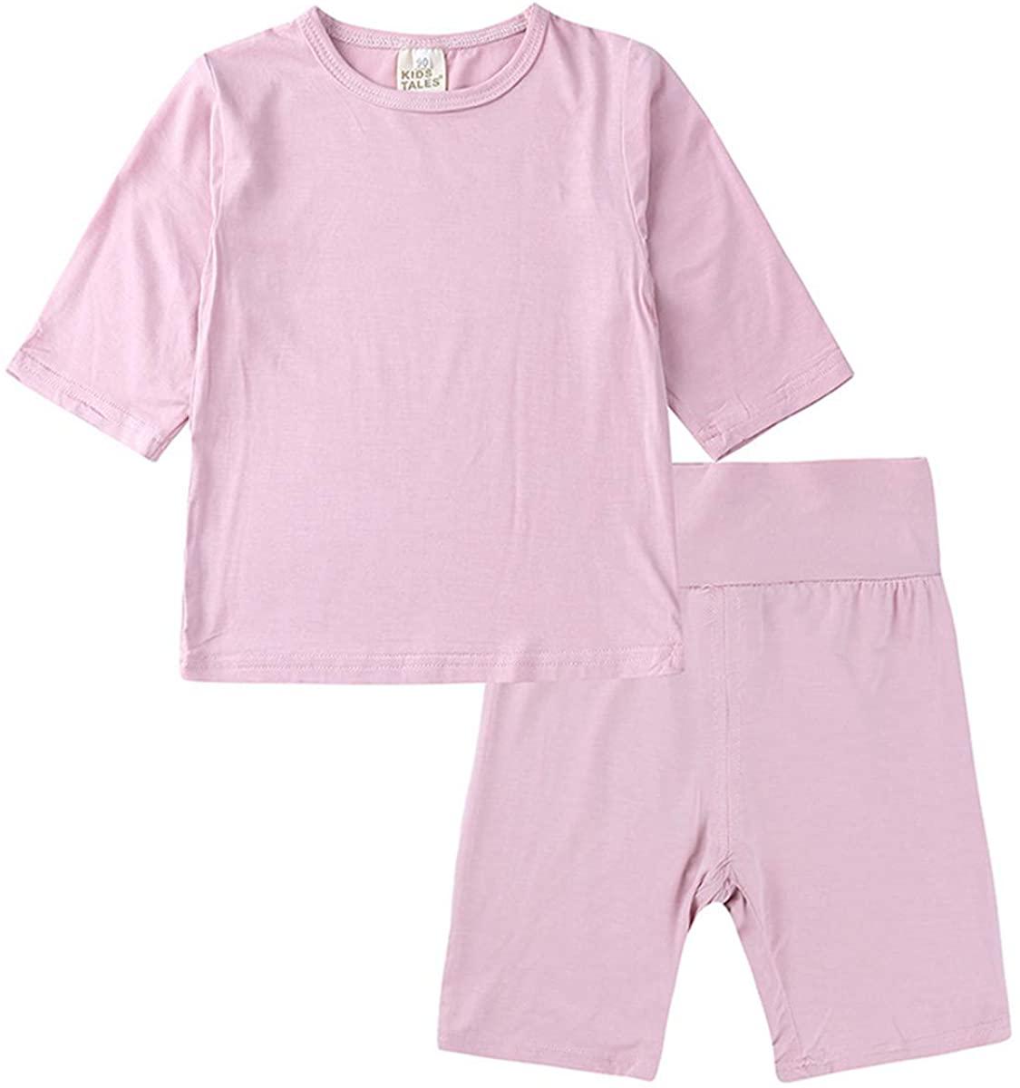 Little Kids Boys Girls 2 Pack Soild Soft Modal Cotton 3/4 Sleeve Summer Spring Pajamas Homewear Set Sleepwear