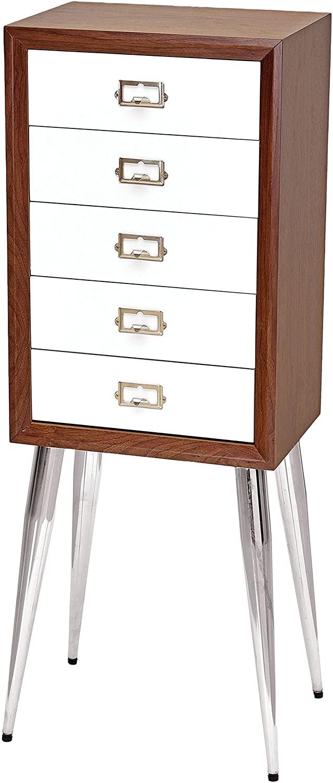 ACME Furniture Gannon Jewelry Armoire, White/Dark Mahogany