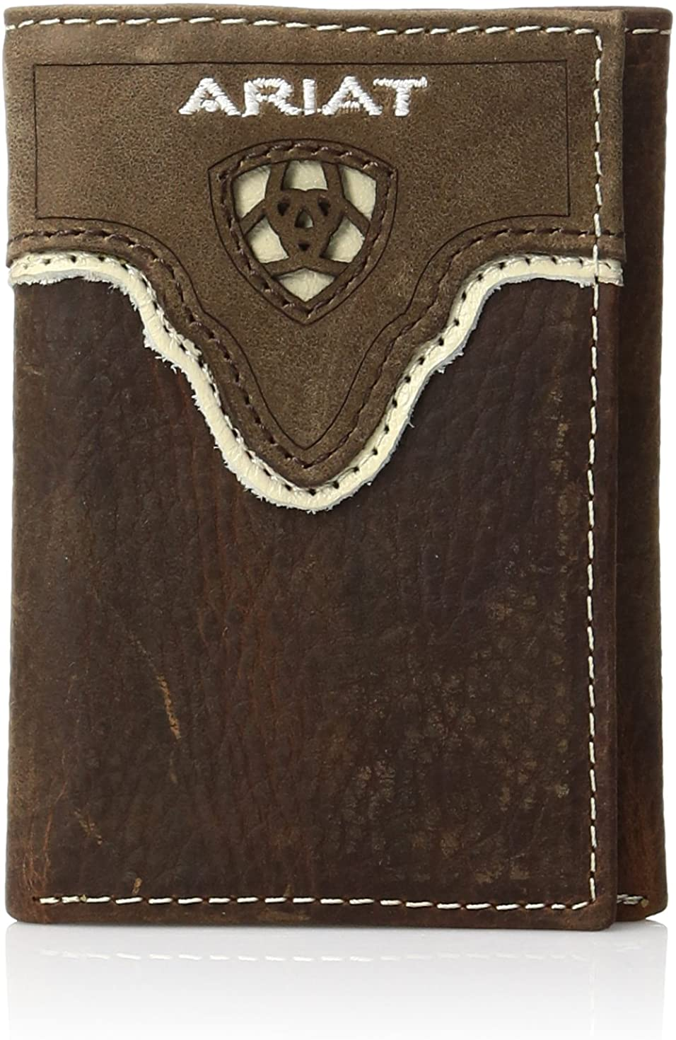 Ariat Men's Distressed Shield Inlay Trifold Western Wallet