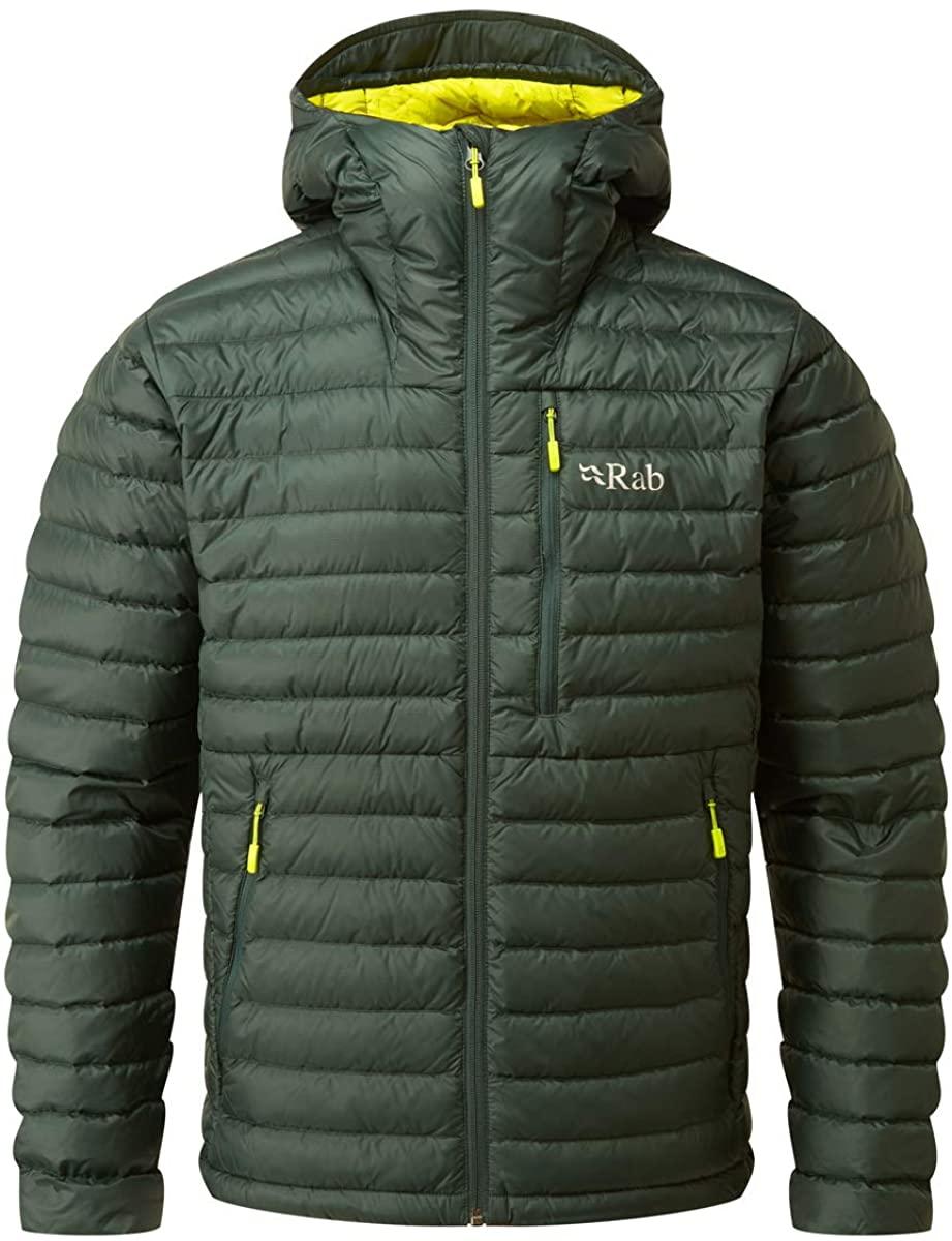 RAB Mens Microlight Alpine Jacket - Ethically-Sourced 750 Fill Hydrophobic Down Jacket (Pine, XL)