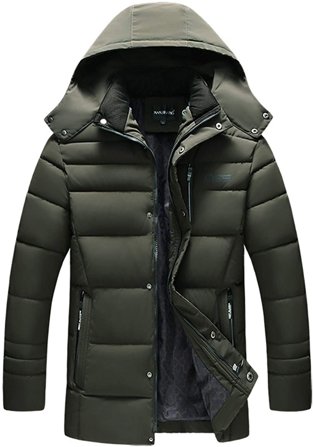 Flygo Mens Winter Quilted Puffer Down Warm Cotton Padded Jacket Coat with Removable Hood