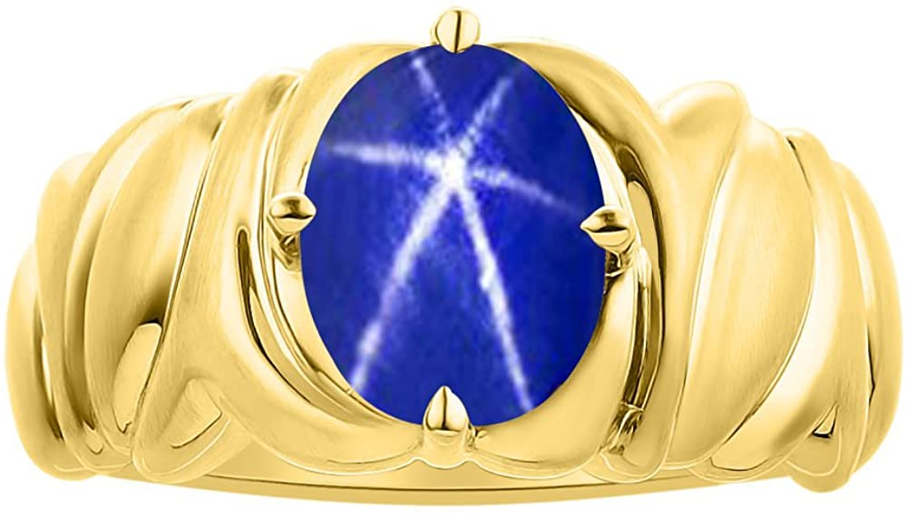 Solitaire Blue Star Sapphire Ring Set In 14K Yellow Gold - Color Stone Birthstone Ring