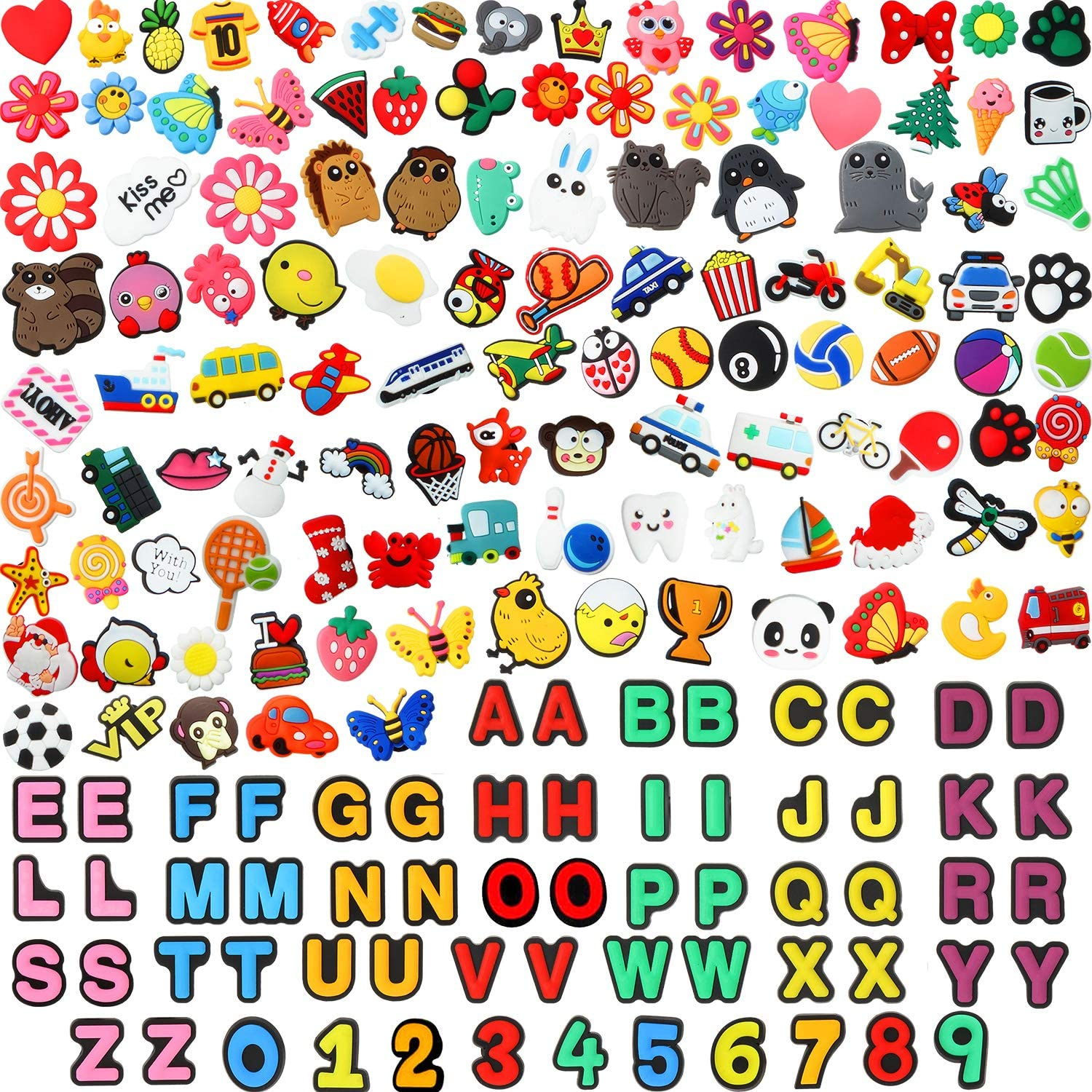 WILLBOND 180 Pieces PVC Shoes Charms Fits Compatible with Clog Shoes for Kids Presents Party Birthday DIY Projects Supplies