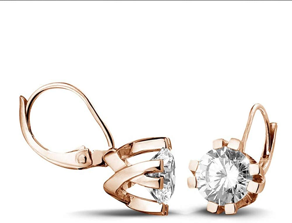 1.00 Carat Round Cut D/VVS1 Diamond Lever Back Solitaire Earrings In 14K Rose Gold Plated With Eight Prongs