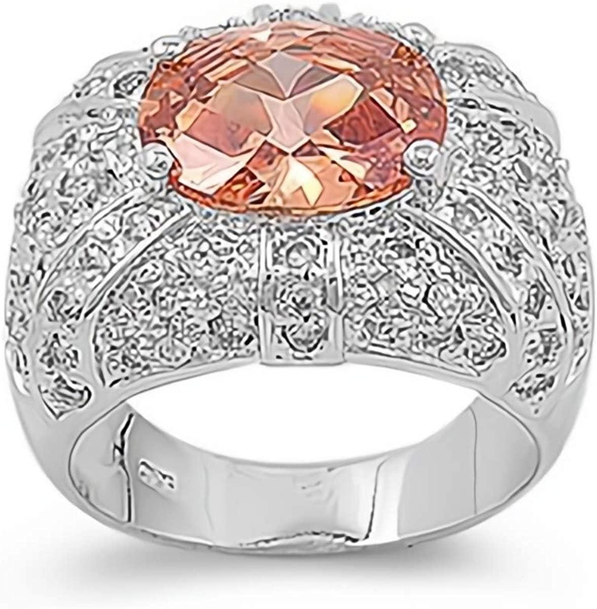 Glitzs Jewels 925 Sterling Silver CZ Ring (Tan/Brown & Clear)   Cubic Zirconia Jewelry Gift