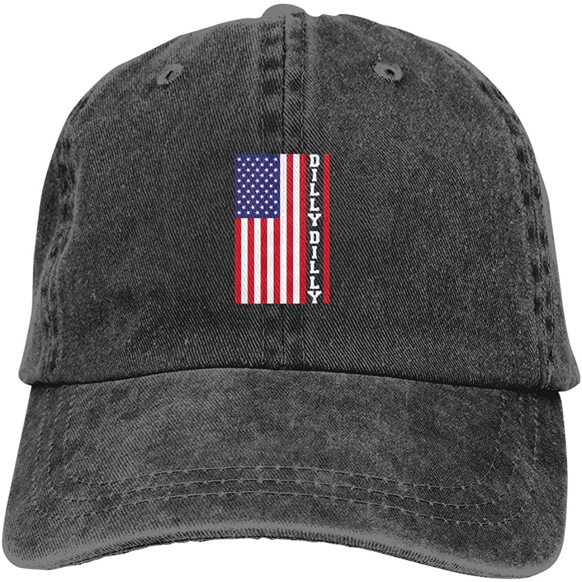 FHdbing Dilly Dilly American Flag Adjustable Cowboy Cap Denim Hat for Women & Men