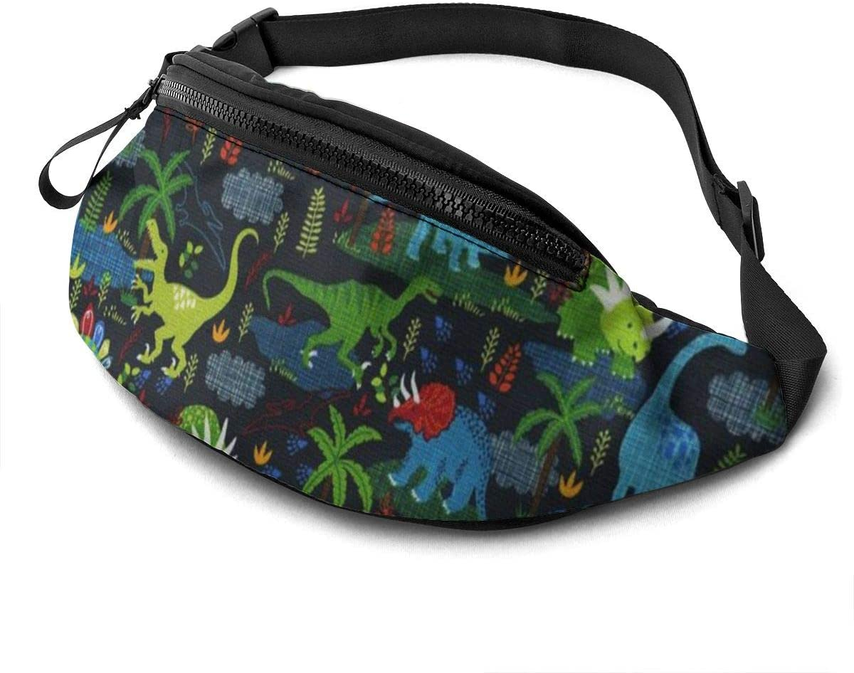 Dinosaurs And Plants Fanny Pack For Men Women Waist Pack Bag With Headphone Jack And Zipper Pockets Adjustable Straps