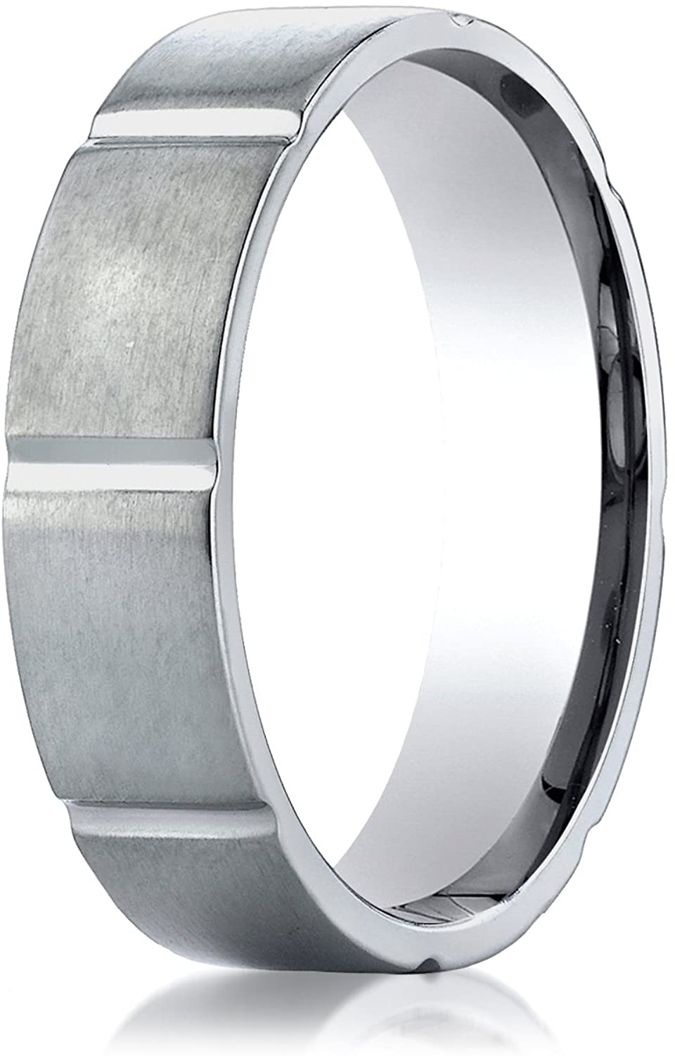Benchmark Titanium 6mm Comfort-Fit Satin-Finished Vertical Cuts Design Wedding Band Ring, (Sizes 6 - 14)