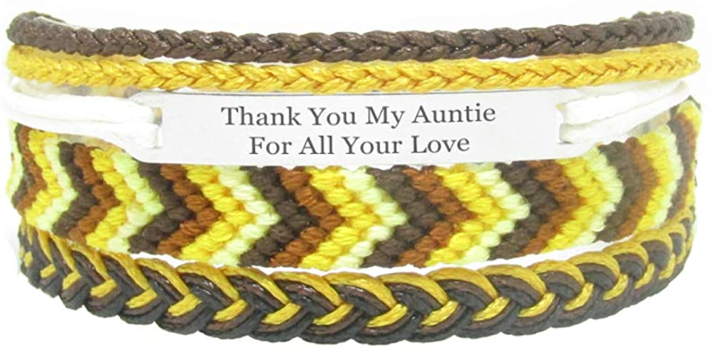 Miiras Family Engraved Handmade Bracelet - Thank You My Auntie for All Your Love - Yellow - Made of Embroidery Thread and Stainless Steel - Gift for My Auntie