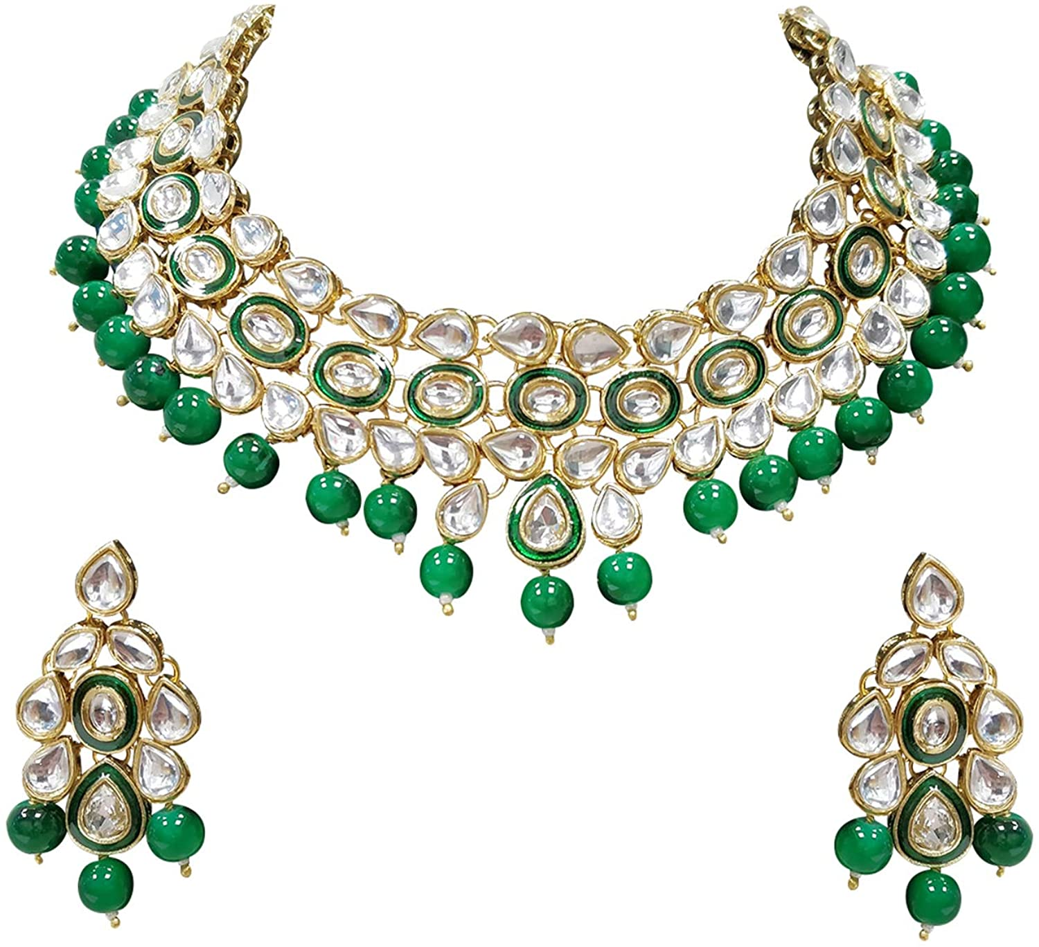 Aheli Ethnic Wedding Faux Kundan Drop Beads Necklace Earrings Set Indian Traditional Bollywood Jewelry Women