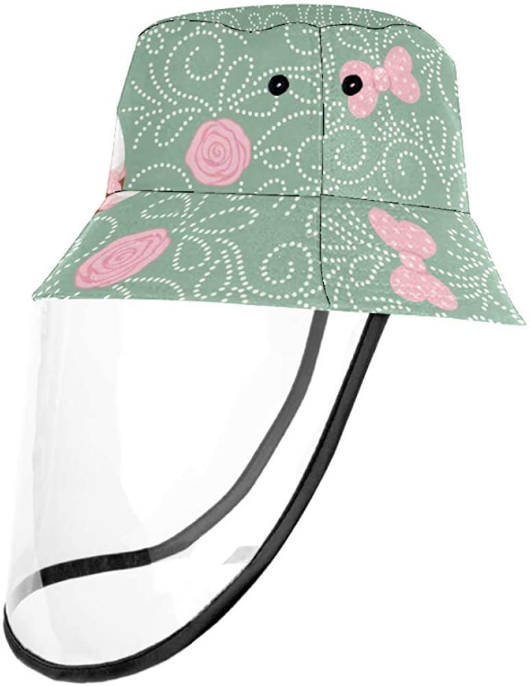White Bunny with Heart Cake Pink Roses and Polka Dots Bows Outdoor Fisherman Hat Summer Beach Caps for Adults