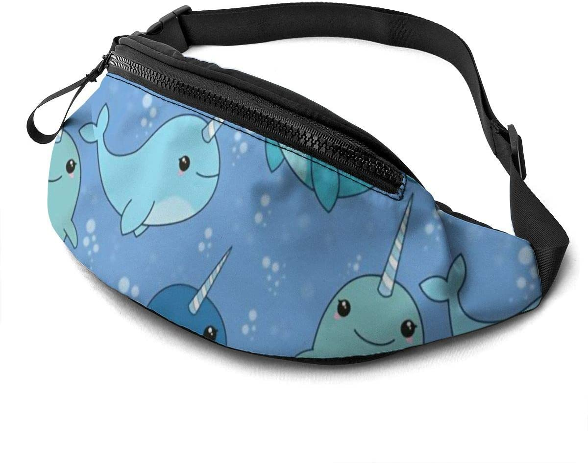 Cute Narwhal Pattern Fanny Pack For Men Women Waist Pack Bag With Headphone Jack And Zipper Pockets Adjustable Straps