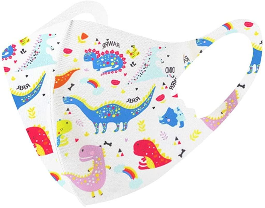 Kids Reusable Breathable Seamless Face Bandanas Dustproof Cute Printed Haze Dust Face Health Protection Washable Cover