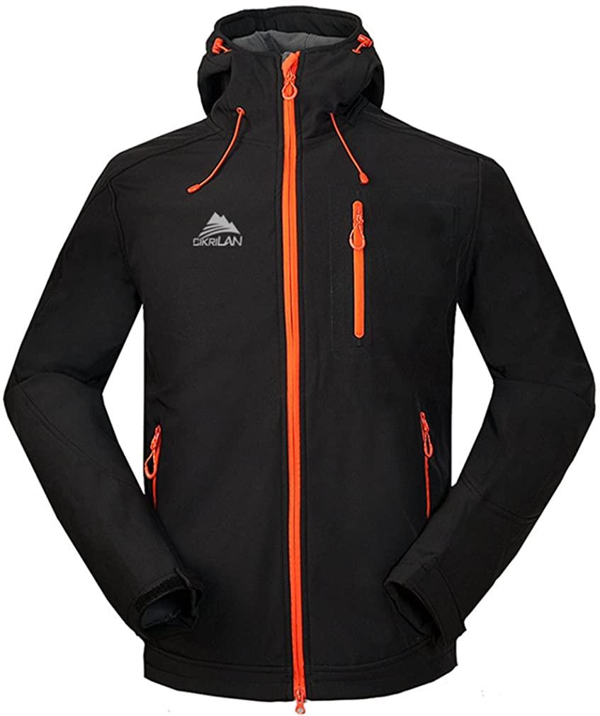 CIKRILAN Men's Outdoor Soft Shell Jacket Hiking Camping Trekking Hooded Coat