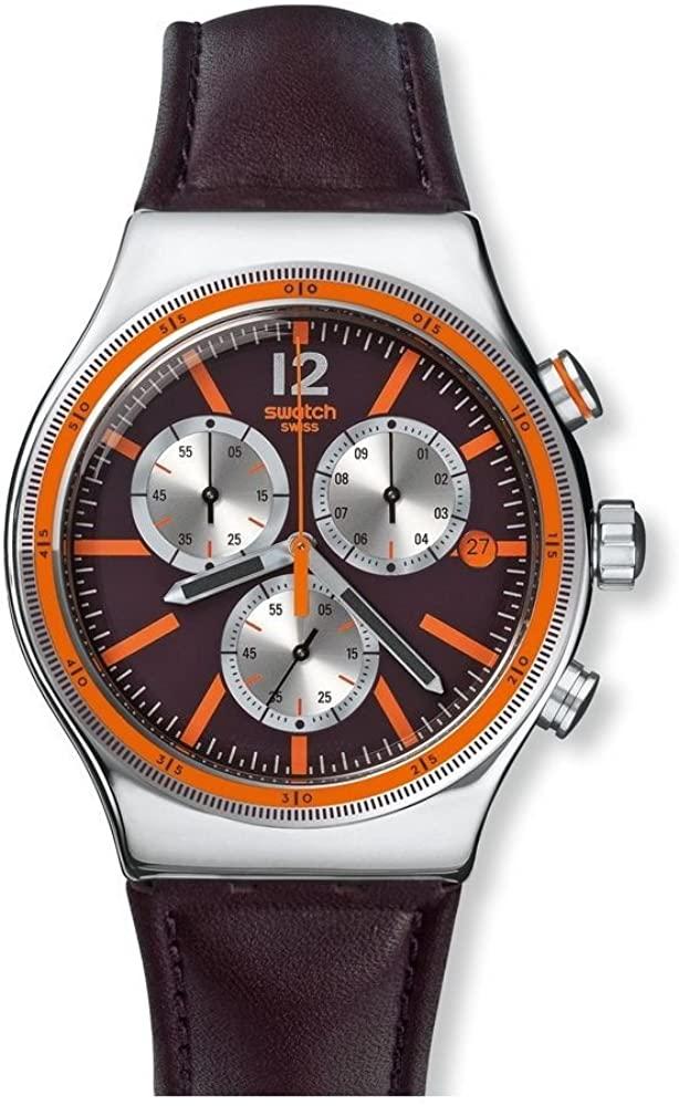 Swatch Irony Prisoner Purple Dial Leather Strap Men's Watch YVS413