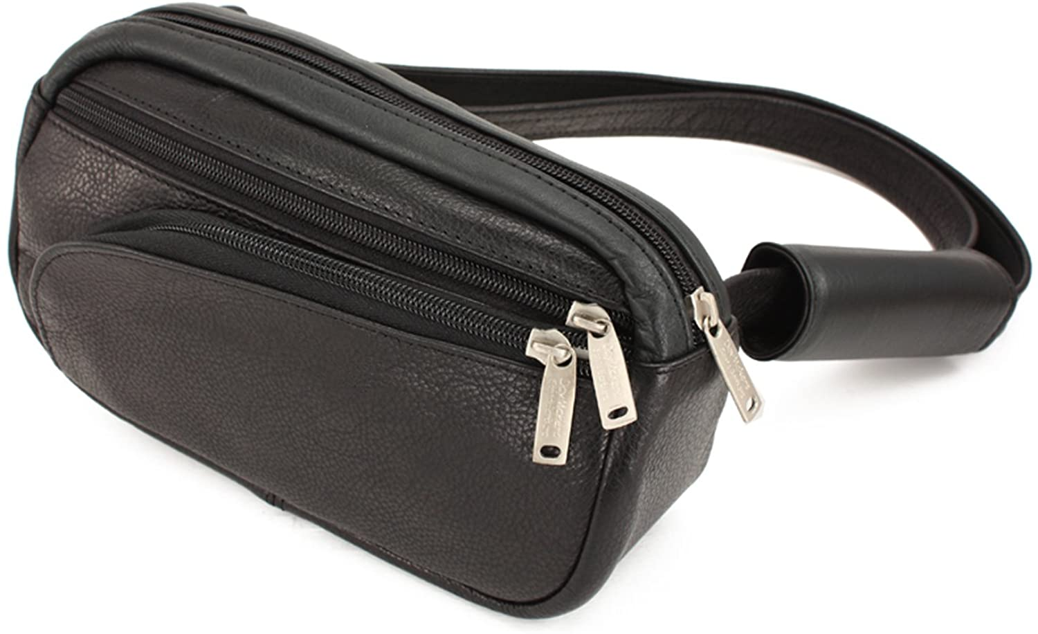 DayMakers BeSafeBags HipSafe Anti-Theft Security Waist Pack w/Organizer, Small, Black Leather