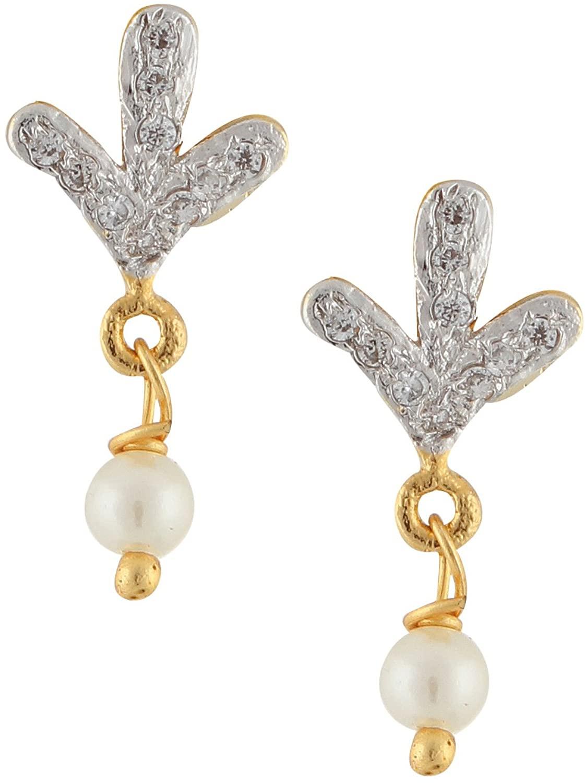 Efulgenz Stud Earrings 14 K Gold Plated Hypoallergenic Cubic Zirconia Pearl Drop Studs Pierced