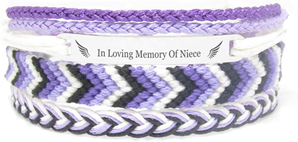 Miiras Remembrance Bracelet, Memorial Jewelry - in Loving Memory of Niece - Purple 1- Beautiful Way to Remember Your Niece That is no Longer with You