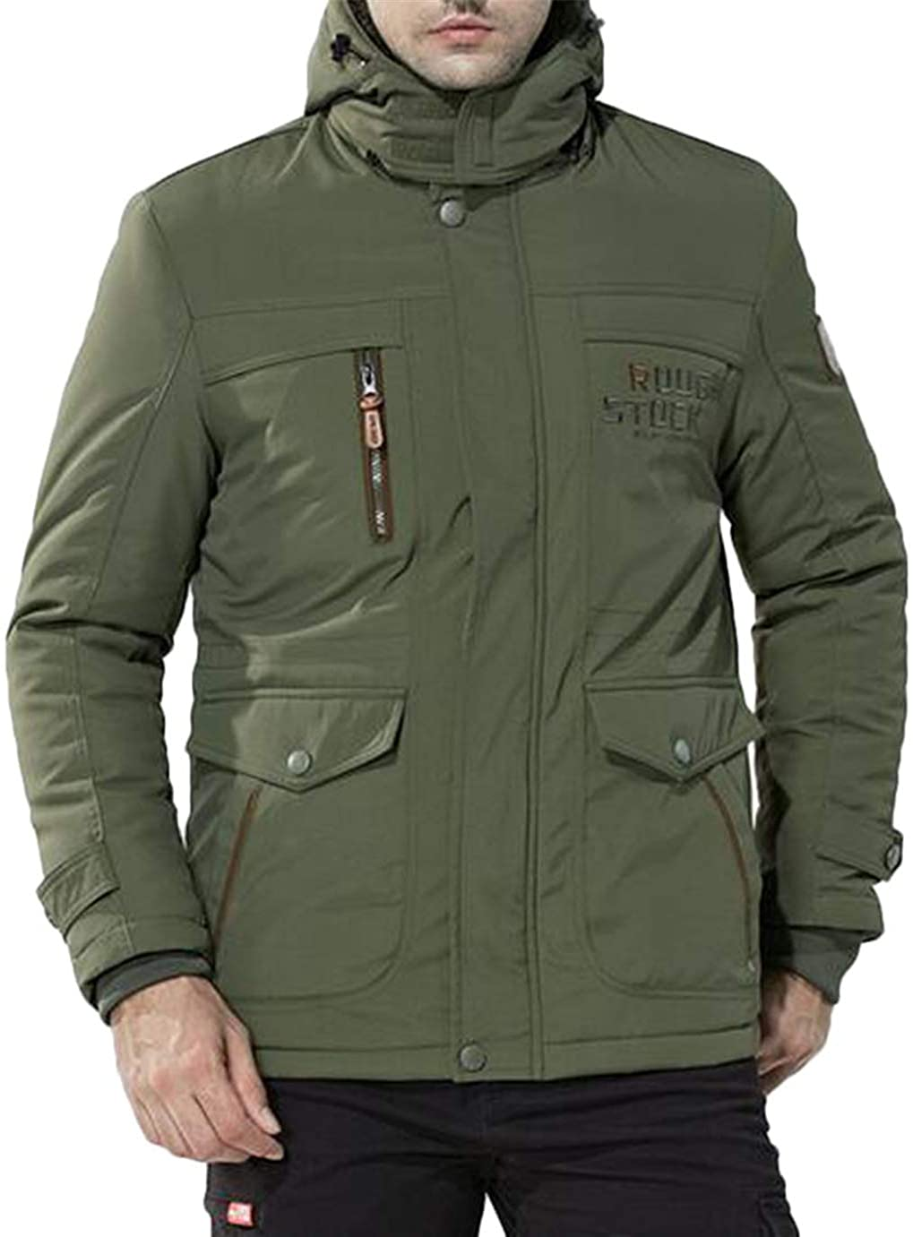 Hmarkt Mens Winter Thicken Military Removable Hooded Fleece Lined Down Puffer Jacket Army Green XL