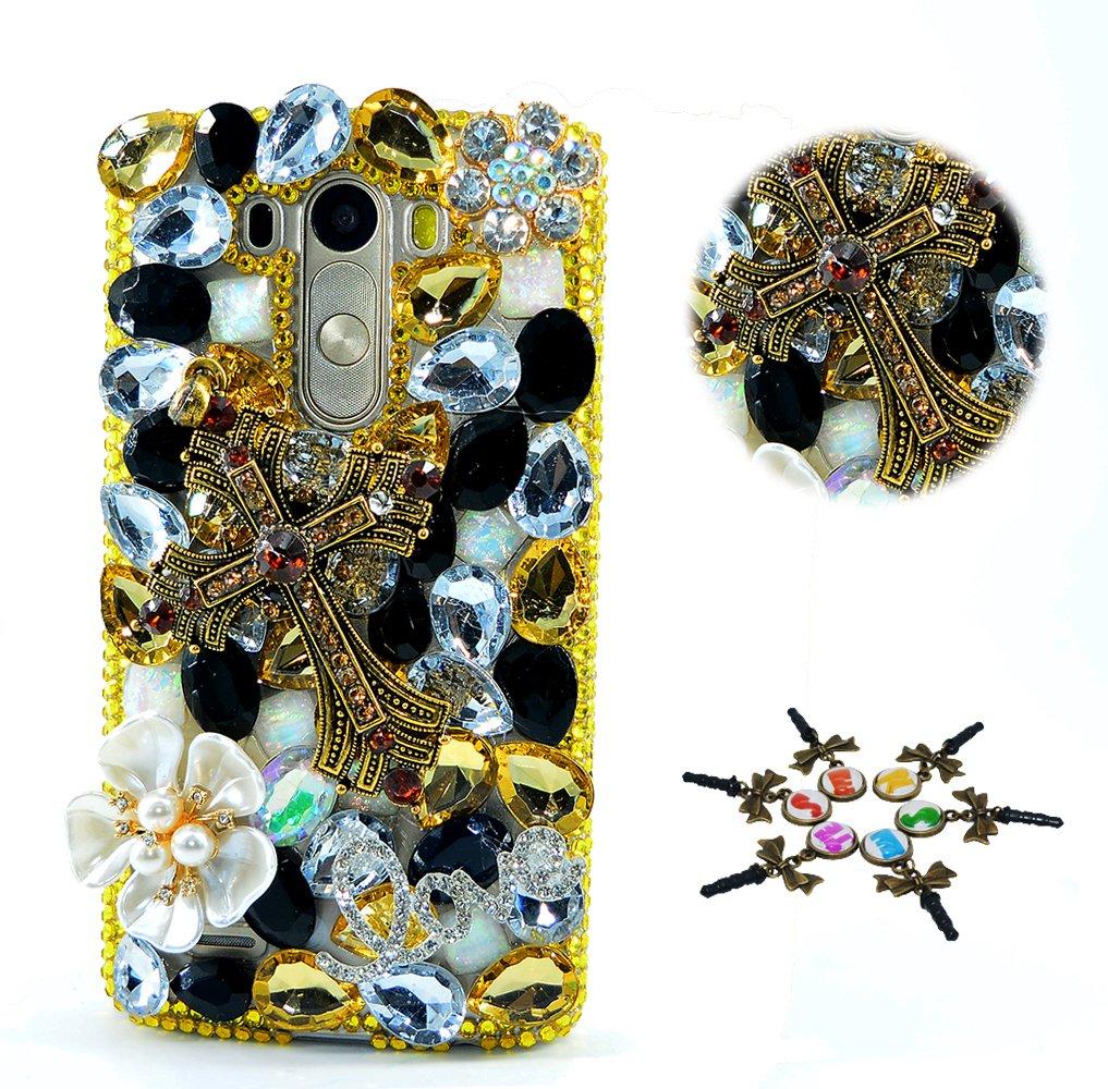 STENES LG Tribute Dynasty Case - STYLISH - 100+ Bling - 3D Handmade Cross Flowers Design Protective Case For LG Tribute Dynasty - Gold&White