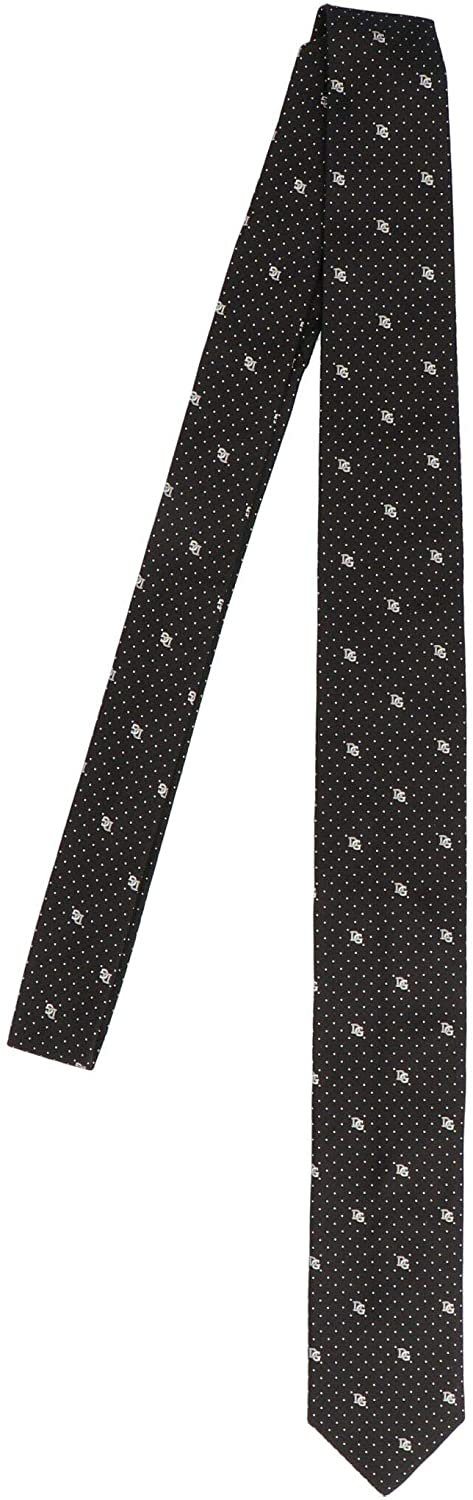Luxury Fashion | Dolce E Gabbana Man GT149EG0JMON0000 Black Silk Tie | Fall Winter 20