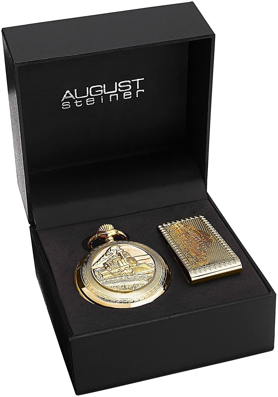 August Steiner Men's AS8144 Silver & Gold Etched Train Design Quartz Pocket Watch & Money Clip Set