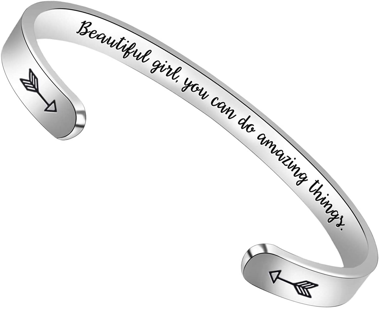 Inspirational Teen Girl Gifts for Her Bracelets for Teenage Uplifting Cuff Bangle Mantra Quotes Engraved with Gift Box.