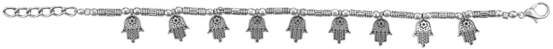 Ethnadore Boho Vintage Gypsy Tribal Indian Oxidized Silver Hamsa Hand of Fatima Lucky Charm Chain Bracelet Jewelry