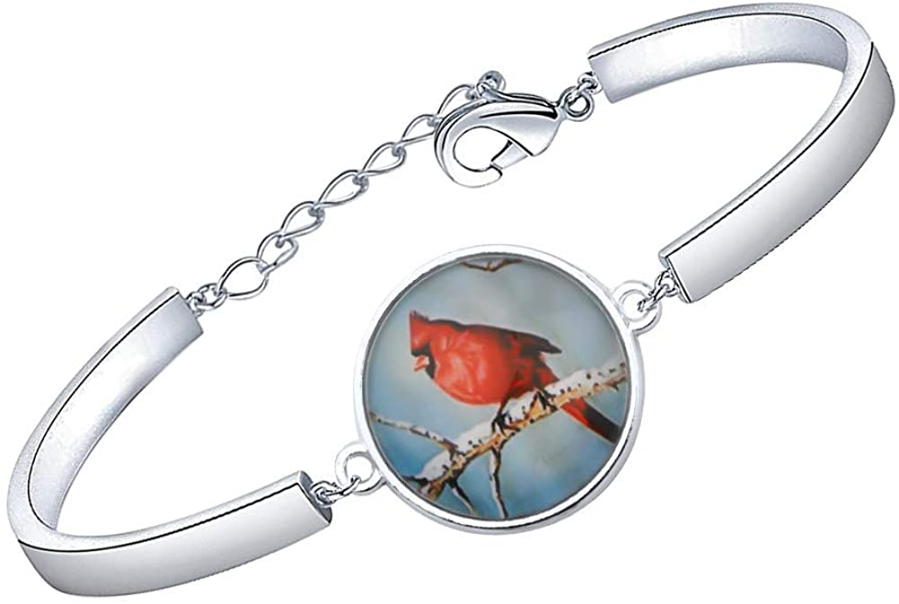 bobauna Cardinal Red Bird On Tree Bangle Bracelet Memorial Jewelry Sympathy Bereavement Keepsake Gift